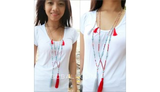 two color beads turquoise tassels necklaces pendant