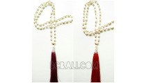 bali tassel necklace with pearls shells fresh water