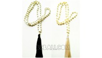 bali tassels necklace with pearls shells fresh water