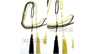 crystal beads with pearls tassels necklaces handmade