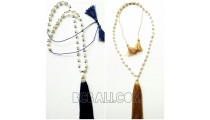 triple tassels necklace pendant fresh pearls shells