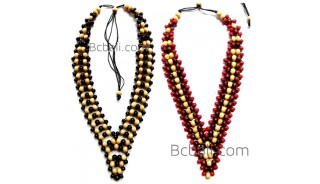 2color shown chokers necklaces wooden beads