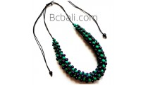 bali wood beaded necklaces wrapted design