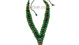2color shown chokers necklaces wood beaded