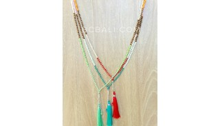 3color beads crystal necklaces tassels fashion bali design