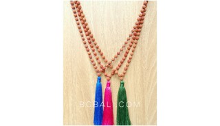 3color tassels necklaces beaded mala organic