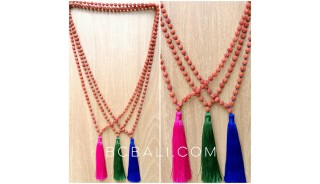 3color tassels full necklaces beads mala organic