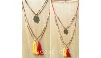 tassels necklaces bronze hamza hand pendant charm