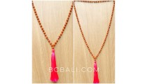 bali tassels necklaces full mala bead natural