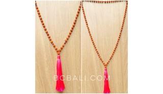 bali tassels necklaces full mala bead natural