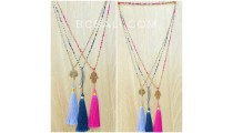 charming beads necklaces multi color tassels fashion