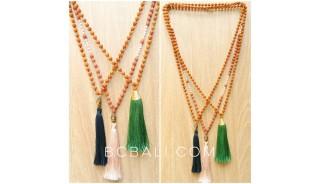 chrome tassels necklaces wood mala meditation