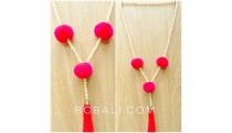 fresh water pearls with triple pompom necklaces