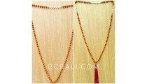 mala wooden beads tassels necklaces with pearl