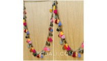 mix color tassels necklaces multi seed charms