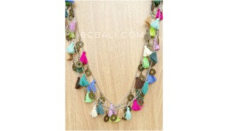 mix color tassels necklace multi strand charms