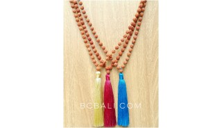 organic mala beads necklaces tassels yoga bali