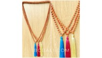 organic mala beads necklaces tassels yoga bali
