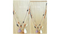 small beads stopper with shells necklaces tassels