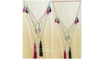 stone small beads tassels necklaces charms triangle