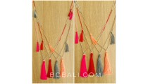 stoper beads silver 3 tassels necklaces bali