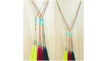 turquoise beads tassels necklace pendant 3color
