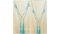 turquoise beads tassels necklace pendant charm