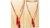 wood mala bead tassels necklaces with pearls