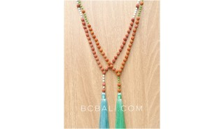 full wood mala with bead tassels necklaces bali