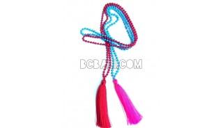beading stone necklaces tassels pendant long