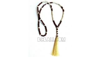 long tassels necklaces bead wood Pendant