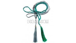 tassels necklaces bead metalic with crystal pendant
