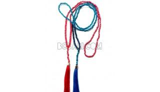 long necklaces tassel bead metalic crystal pendant