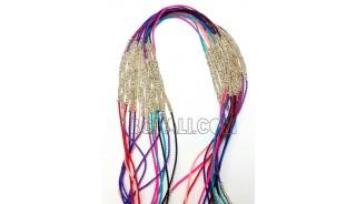 string tassel chrome silver bead necklaces pendant