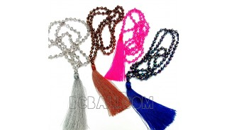 tassel necklaces beads crystal pendant long