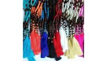 mix alot long tassel necklaces bead wooden