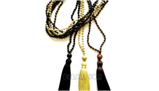 wooden beads tassels pendant necklaces