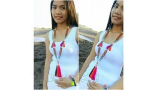 3color fashion genetri mala wood necklaces tassel