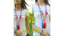 bali bead tassels triple pendant necklaces fashion