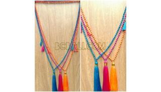 bali bead tassels triple pendant necklaces fashion