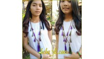 bali tassels wooden saba necklaces two color