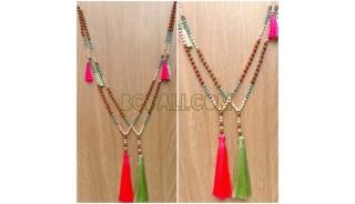 bead wood mala tassels necklace handmade bali