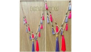 bead wooden mala necklace tassels handmade bali