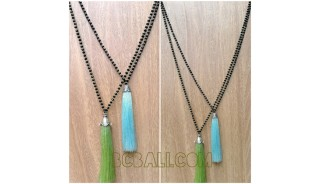 crystal beads necklace pendant tassels bali design