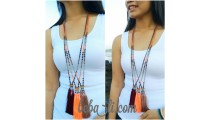 indian tassels triple pendant necklaces bead crystal