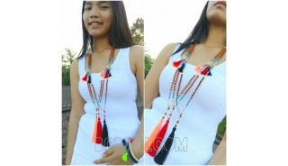 mala beads tassels necklace handmade bali
