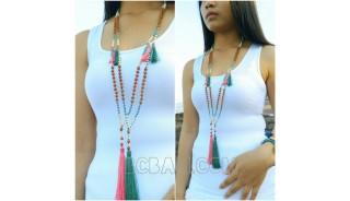 mala necklaces wood tassels handmade bali