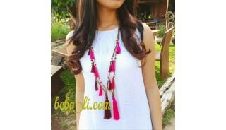 multi tassels wood necklace handmade bali