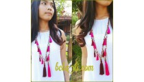 multi tassels wood necklace handmade bali