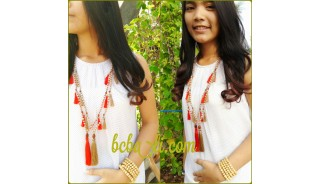 organic wooden beads sabo necklaces tassels